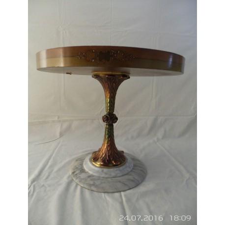 Mesa antigua de centro madera redonda pie mármol y metal