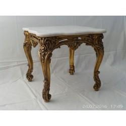 Mesa de centro valenciana madera dorada y marmol