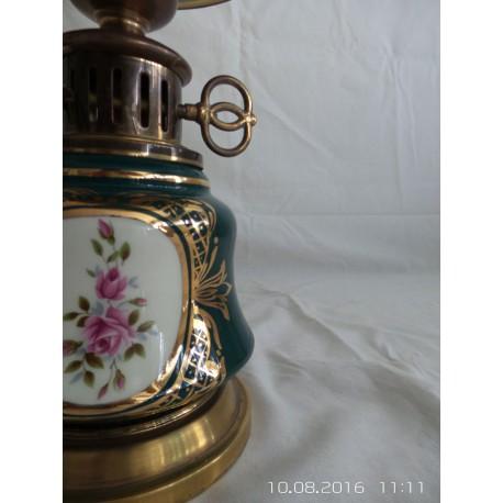 Lampara mesa de cerámica verde estilo Quinqué