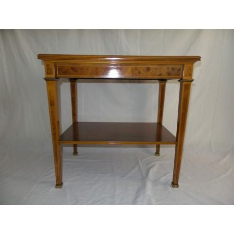 Mesa de servicio rectangular de madera con marquetería de raíz