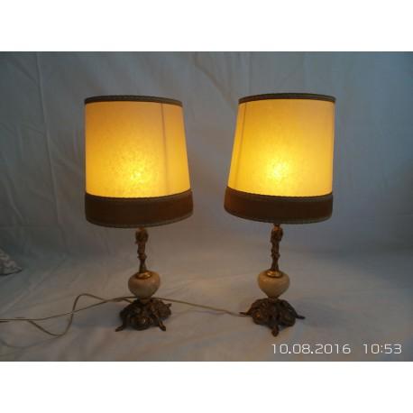 Conjunto lámparas mesita noche de metal ,estilo pantallas antiguas