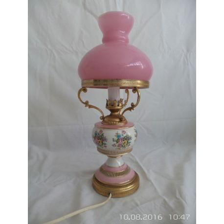 Lámpara miller, cerámica pintada con detalles,cristal rosa