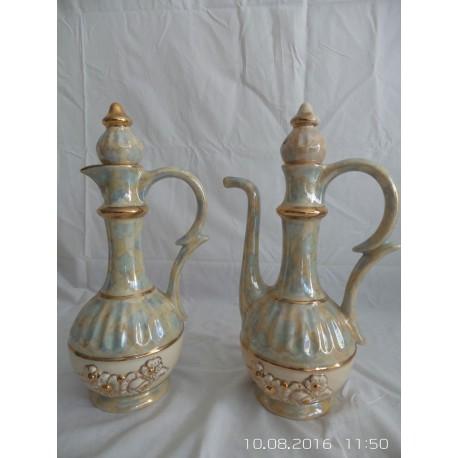 Juego de jarrones de cerámica decorados