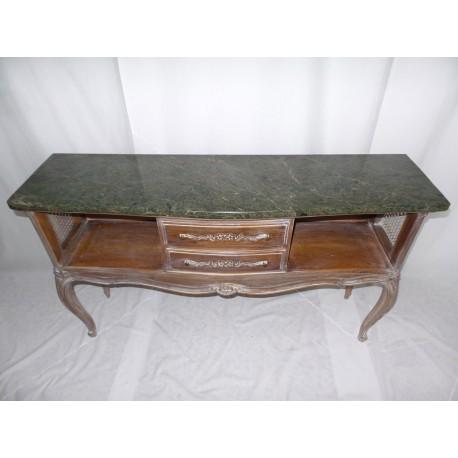 Mueble auxiliar de comedor, con marmol verde y acabado decapado.