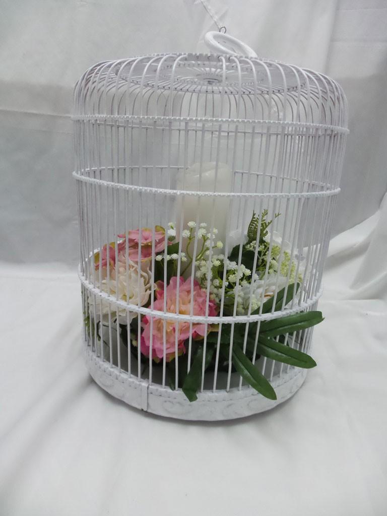 jaula decoracin pintada en blanco para