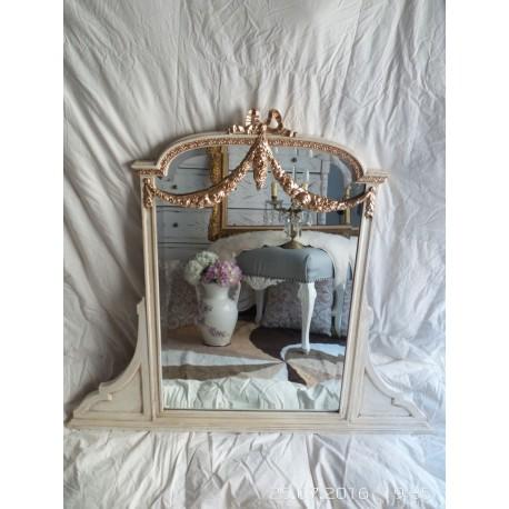 Espejo estilo ingles biselado color marfil envejecido